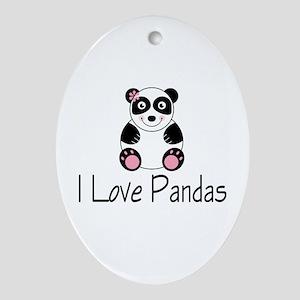 I Love Pandas Oval Ornament