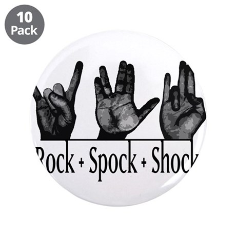 """Rock Spock & Shock 3.5"""" Button (10 pack)"""