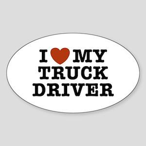 I Love My Truck Driver Oval Sticker