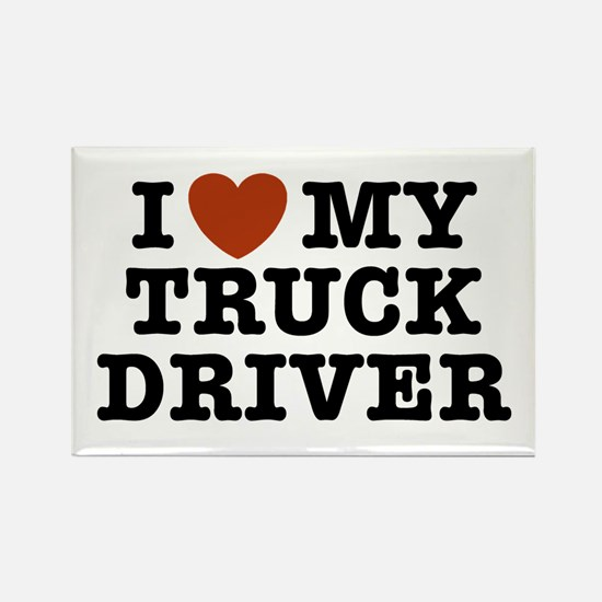 I Love My Truck Driver Rectangle Magnet