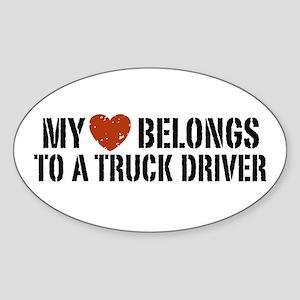My Heart Belongs to a Truck Driver Oval Sticker