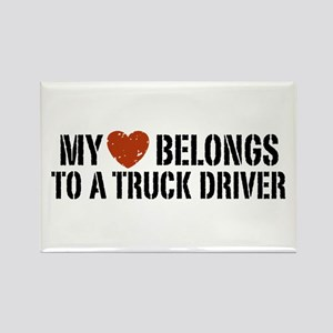 My Heart Belongs to a Truck Driver Rectangle Magne