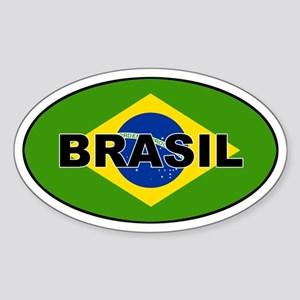 Brasil Flag Oval Sticker