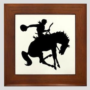Bucking Bronc Cowboy Framed Tile