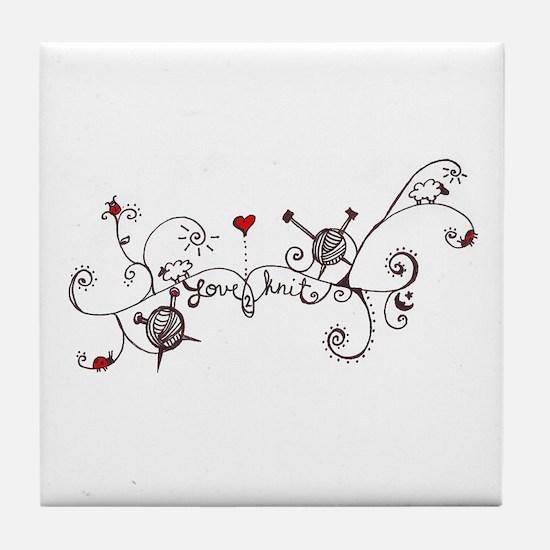 Cute Knitting Tile Coaster