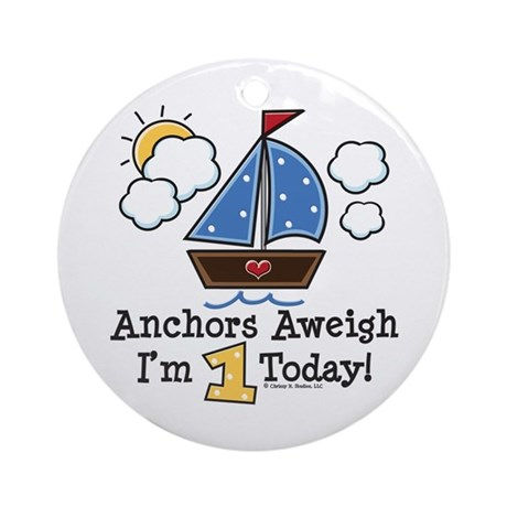 1st Birthday Sailboat Party Ornament (Round)