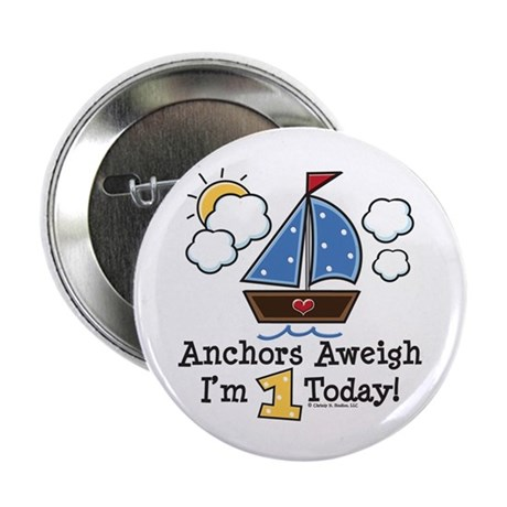 """1st Birthday Sailboat Party 2.25"""" Button (100 pack"""
