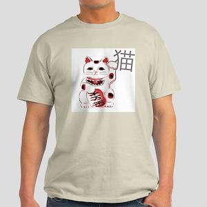 Cherry Maneki Neko Ash Grey T-Shirt