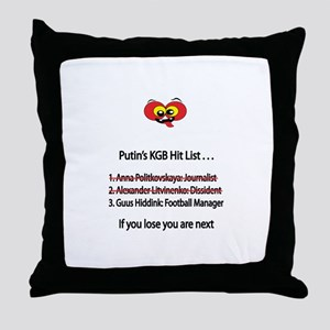 "Whooligan Russia ""Putin Hit List"" Throw Pillow"