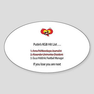 """Whooligan Russia """"Putin Hit List"""" Oval Sticker"""