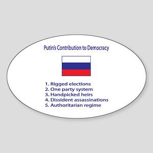 "Whooligan Russia ""Putin Democracy"" Oval Sticker"