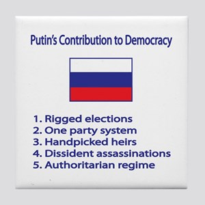"Whooligan Russia ""Putin Democracy"" Tile Coaster"
