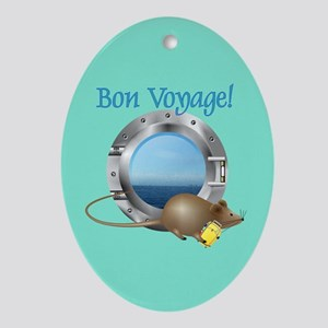 Sailing Mouse on Vacation Oval Ornament