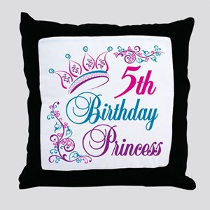 5th Birthday Princess Throw Pillow