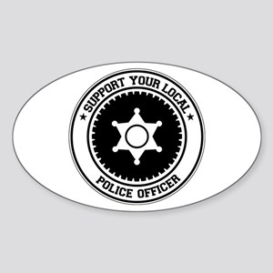 Support Police Officer Oval Sticker