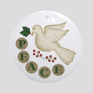 Christmas Peace Dove Ornament (Round)