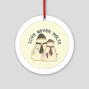 Love Never Melts Snowmen Ornament (Round)