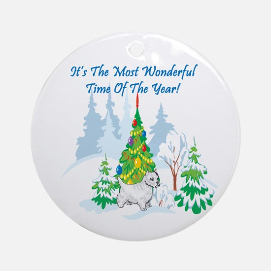 Christmas Time Westie Ornament (Round)