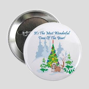 "Christmas Time Shih Tzu 2.25"" Button"