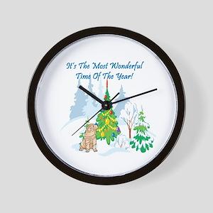 Christmas Time Shar Pei Wall Clock