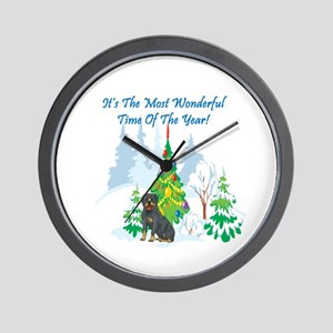 Christmas Time Rottie Wall Clock
