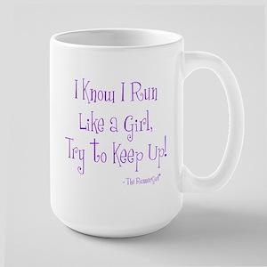 I know I run like a Girl Large Mug
