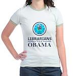 Librarians for Obama Jr. Ringer T-Shirt