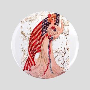 """Gibson Girl & Flag #2 3.5"""" Button"""