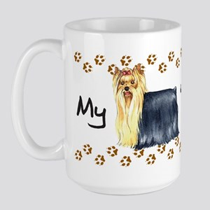 Yorkie Walks Large Mug