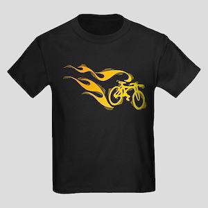 Flaming Bicycle Kids Dark T-Shirt