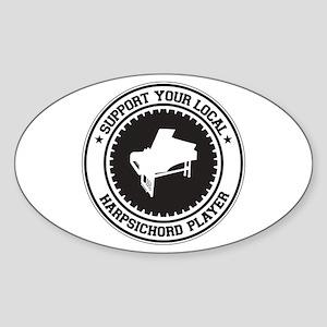 Support Harpsichord Player Oval Sticker