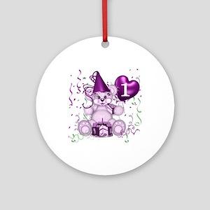 BIRTHDAY AGE: 1 (purple) Ornament (Round)