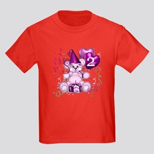 BIRTHDAY AGE: 2 (purple) Kids Dark T-Shirt
