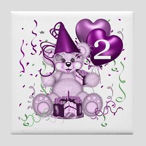 BIRTHDAY AGE: 2 (purple) Tile Coaster