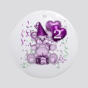 BIRTHDAY AGE: 2 (purple) Ornament (Round)