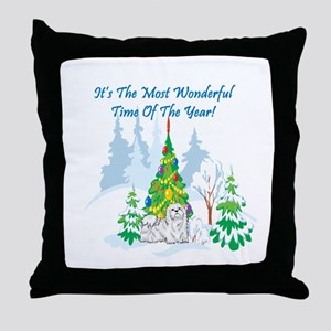 Christmas Time Maltese Throw Pillow