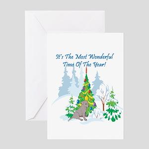 Christmas Time Black Lab Greeting Card