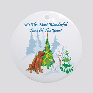 Christmas Time Irish Setter Ornament (Round)
