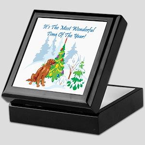 Christmas Time Irish Setter Keepsake Box
