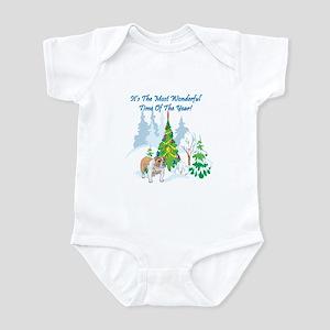 Christmas Time Bulldog Infant Bodysuit