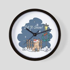 Let It Snow Shar Pei Wall Clock