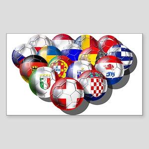 European Soccer Football Rectangle Sticker