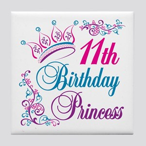 11th Birthday Princess Tile Coaster
