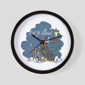 Let It Snow Rottweiler Wall Clock