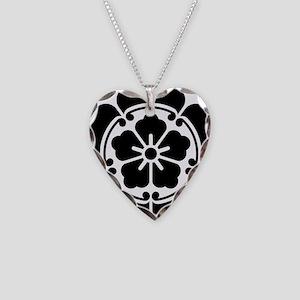 Oda Mon Japanese Samurai Clan Necklace Heart Charm