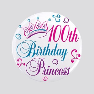 "100th Birthday Princess 3.5"" Button (100 pack)"