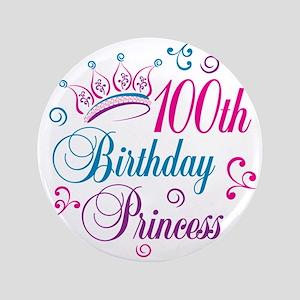 "100th Birthday Princess 3.5"" Button (100 pack)"
