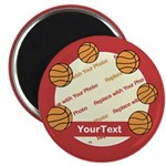 CUSTOMIZE Photo and Text Basketball Magnets