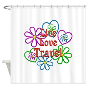 Live Love Travel Shower Curtains
