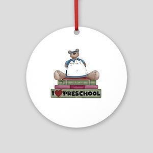 Bear and Books Preschool Ornament (Round)